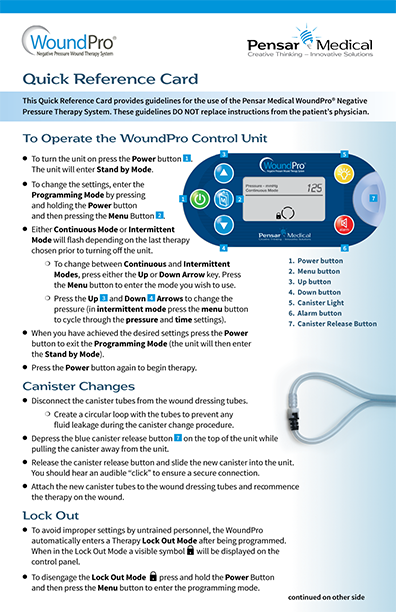 Product # 0491 WoundPro Quick Reference Card